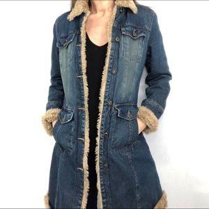 Steve Madden denim & faux fur trench coat jacket